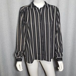 (3/$27) H&M Long Sleeve Collared Striped Shirt